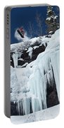 A Snowboarder Jumps Off An Ice Portable Battery Charger