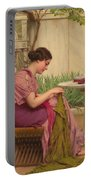 A Stitch Is Free Or A Stitch In Time 1917 Portable Battery Charger by John William Godward