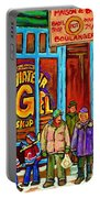 A Stroll After The Hockey Game St Viateur Bagel Montreal Winter Street Carole Spandau Portable Battery Charger