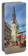 A Sunny Afternoon In Jackson Square Oil Portable Battery Charger by Steve Harrington