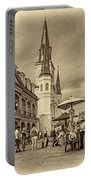A Sunny Afternoon In Jackson Square Sepia Portable Battery Charger
