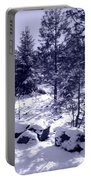 A Touch Of Snow In Lavender Portable Battery Charger