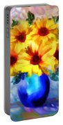A Vase Of Sunflowers Portable Battery Charger by Valerie Anne Kelly
