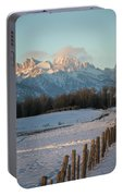 A Winter Scene Of A Snowy Field, Fence Portable Battery Charger