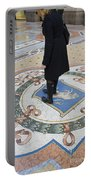 A Woman Rubs Her Heel For Good Luck On The Crest Of The Bull In Galleria Vittorio Emanuele II  Portable Battery Charger