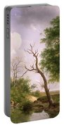 A Wooded River Landscape With Sportsmen In A Rowing Boat Portable Battery Charger
