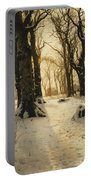 A Wooded Winter Landscape With Deer Portable Battery Charger