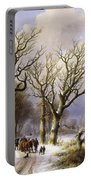 A Wooded Winter Landscape With Figures Portable Battery Charger