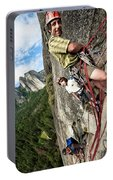 A Young Boy And Climbers In Yosemite Portable Battery Charger