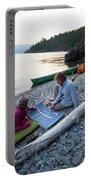 A Young Girl And Her Dad Enjoying Camp Portable Battery Charger