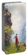 A Young Girl By A Fjord Portable Battery Charger