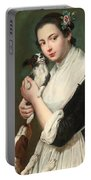A Young Lady With Two Dogs Portable Battery Charger