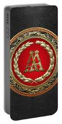 Aa Initials - Gold Antique Monogram On Black Leather Portable Battery Charger