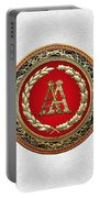 Aa Initials - Gold Antique Monogram On White Leather Portable Battery Charger