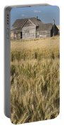 Abandoned Farmhouse In Wheat Field Portable Battery Charger