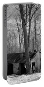 Abandoned Sugar Shack In Black And White Portable Battery Charger