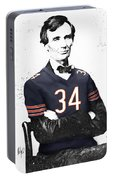 Abe Lincoln In A Walter Payton Chicago Bears Jersey Portable Battery Charger
