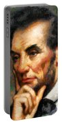 Abraham Lincoln - Abstract Realism Portable Battery Charger