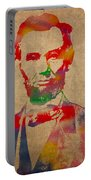 Abraham Lincoln Watercolor Portrait On Worn Distressed Canvas Portable Battery Charger