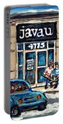 Montreal Art Exhibit At Java U Carole Spandau Montreal Street Scenes Paintings Hockey Art  Portable Battery Charger