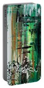 Abstract Art Colorful Original Painting Green Valley By Madart Portable Battery Charger