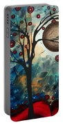 Abstract Art Contemporary Cat Bird Circle Of Life Collection Cat Perch By Madart Portable Battery Charger