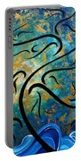 Abstract Art Gold Textured Original Tree Painting Peace And Desire By Madart Portable Battery Charger