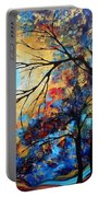 Abstract Art Landscape Metallic Gold Textured Painting Eye Of The Universe By Madart Portable Battery Charger
