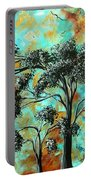 Abstract Art Landscape Metallic Gold Textured Painting Spring Blooms II By Madart Portable Battery Charger
