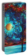 Abstract Art Landscape Tree Blossoms Sea Moon Painting Visionary Delight By Madart Portable Battery Charger