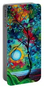 Abstract Art Landscape Tree Blossoms Sea Painting Under The Light Of The Moon I  By Madart Portable Battery Charger