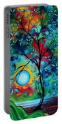 Abstract Art Landscape Tree Blossoms Sea Painting Under The Light Of The Moon I  By Madart Portable Battery Charger by Megan Duncanson