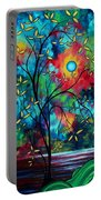 Abstract Art Landscape Tree Blossoms Sea Painting Under The Light Of The Moon II By Madart Portable Battery Charger