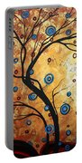 Abstract Art Landscape Tree Metallic Gold Texture Painting Free As The Wind By Madart Portable Battery Charger
