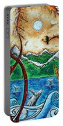 Abstract Art Original Alaskan Wilderness Landscape Painting Land Of The Free By Madart Portable Battery Charger by Megan Duncanson