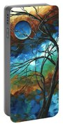 Abstract Art Original Colorful Painting Mystery Of The Moon By Madart Portable Battery Charger