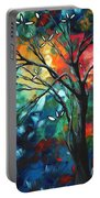 Abstract Art Original Colorful Painting Spring Blossoms By Madart Portable Battery Charger