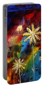 Abstract Art Original Daisy Flower Painting Visual Feast By Madart Portable Battery Charger
