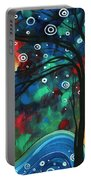 Abstract Art Original Landscape Colorful Painting First Snow Fall By Madart Portable Battery Charger