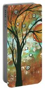 Abstract Art Original Landscape Painting Bold Circle Of Life Design Autumns Eve By Madart Portable Battery Charger