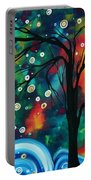 Abstract Art Original Landscape Painting Bold Circle Of Life Design Dance The Night Away By Madart Portable Battery Charger
