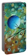 Abstract Art Original Landscape Painting Colorful Circles Morning Blues I By Madart Portable Battery Charger