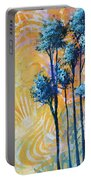 Abstract Art Original Landscape Painting Contemporary Design Blue Trees II By Madart Portable Battery Charger
