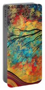 Abstract Art Original Landscape Painting Go Forth I By Madart Studios Portable Battery Charger
