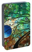 Abstract Art Original Landscape Painting Mint Julep By Madart Portable Battery Charger