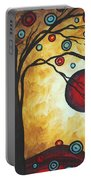Abstract Art Original Metallic Gold Landscape Painting Freedom Of Joy By Madart Portable Battery Charger