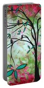 Abstract Art Original Whimsical Magical Bird Painting Through The Looking Glass  Portable Battery Charger