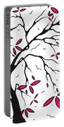 Abstract Artwork Modern Original Landscape Pink Blossom Tree Art Pink Foliage By Madart Portable Battery Charger