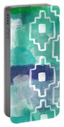 Abstract Aztec- Contemporary Abstract Painting Portable Battery Charger by Linda Woods