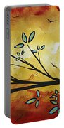 Abstract Bird Landscape Tree Blossoms Original Painting Family Of Three Portable Battery Charger